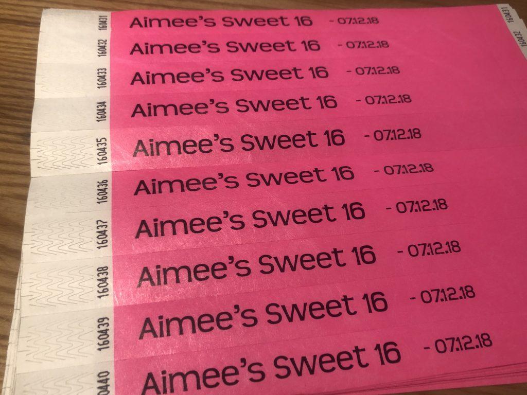 Aimee's Sweet 16 - Wristbands