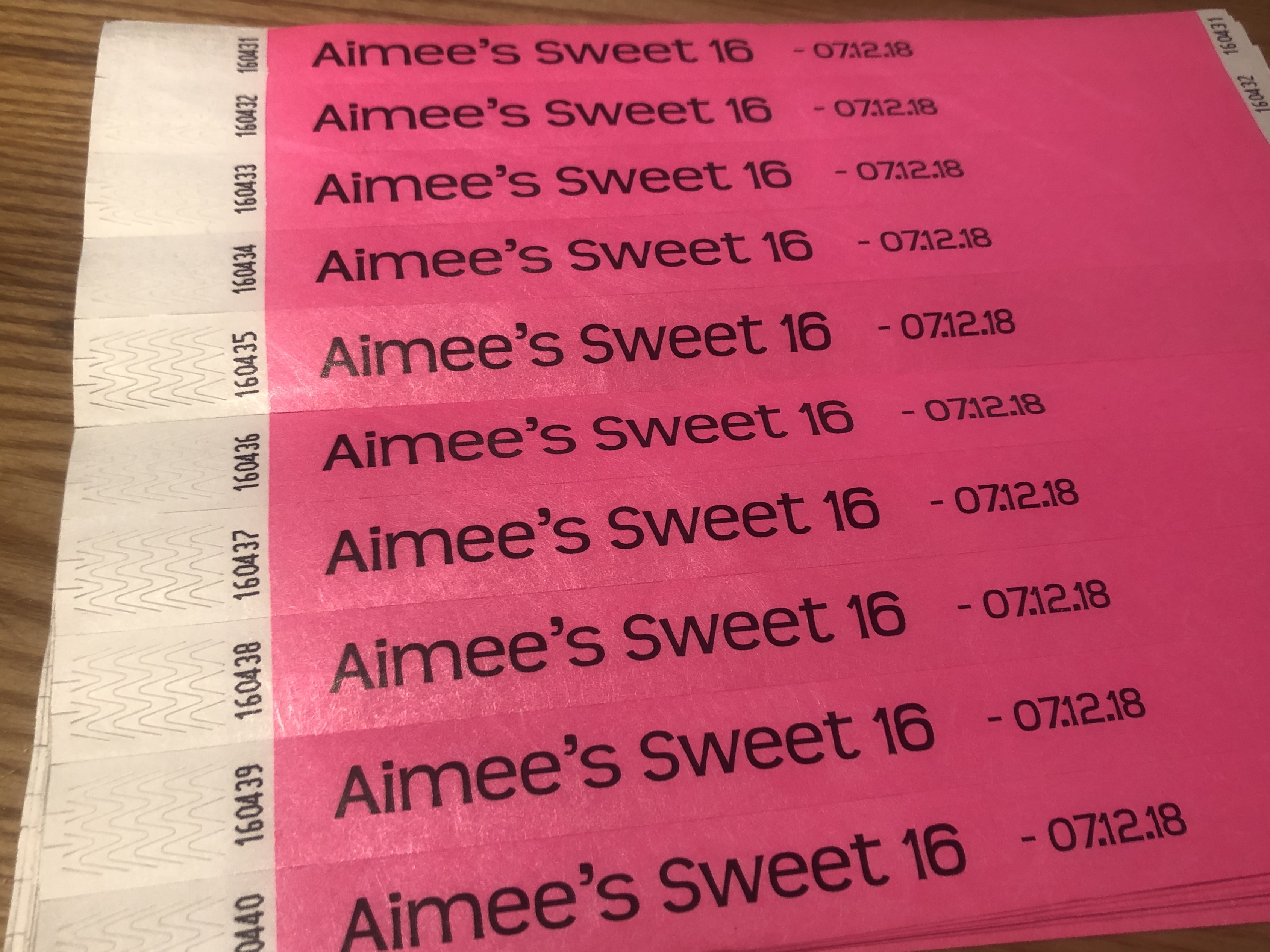 Aimee's Sweet 16 - Wristbands
